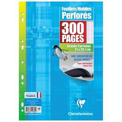Feuilles simples Blanc A4 Perforé Grands carreaux 300 pages - 150 feuillets mobiles