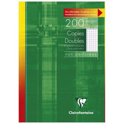 Copies doubles Blanc A4 non perforé Petits carreaux 200 pages - 100 feuilles