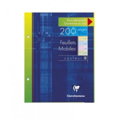 Feuilles simples Couleur 17x22cm Perforé Grands carreaux 200 pages - 100 feuillets mobiles