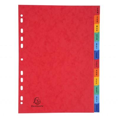 Intercalaires Cartonnés Mensuels 12 positions A4 Couleurs assorties