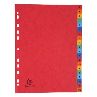Intercalaires Cartonnés Alphabétiques AZ 20 positions A4 Couleurs assorties