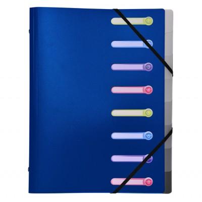 Trieur 8 compartiments Plastique Opaque 3 rabats avec élastiques