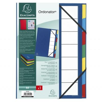 Trieur 7 compartiments Rigide Bleu Dos extensible avec élastiques ORDONATOR