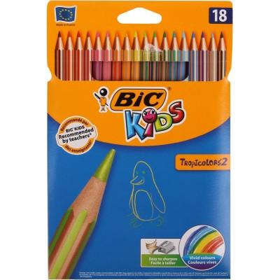 Crayons de couleur Etui de 18 - BIC Tropicolors 2