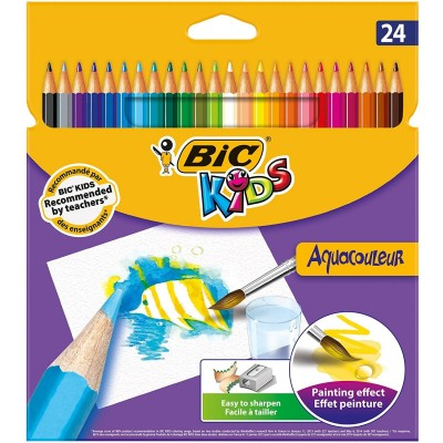 Crayons de couleur Aquarelle Etui de 24 - BIC AquaCouleur