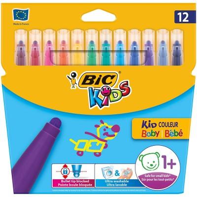 Feutres de coloriage BIC KID Couleur Bébé Etui de 12 - dès 1 an
