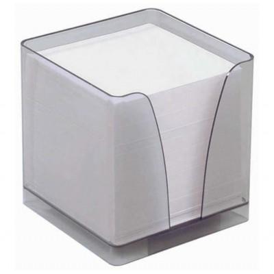 Bloc Cube Mémo Transparent avec Papier Blanc 90g - 9 x 9 x 7,5 cm - 590 feuilles