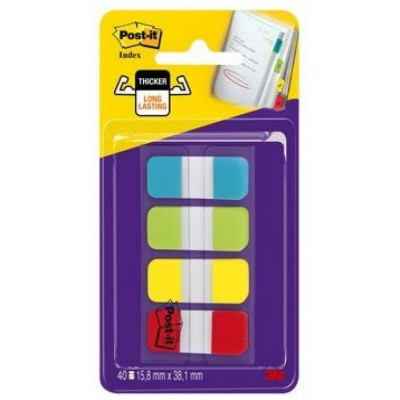 Post-it Marque-pages Mini rigides 40 index - Rouge Jaune Vert Bleu