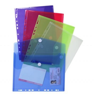 Pochettes enveloppes perforées plastique couleurs transparent Paquet de 5 - A4