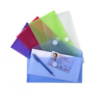 Mini-pochettes enveloppes plastique couleurs transparent Paquet de 5 - 25 x 13,5 cm