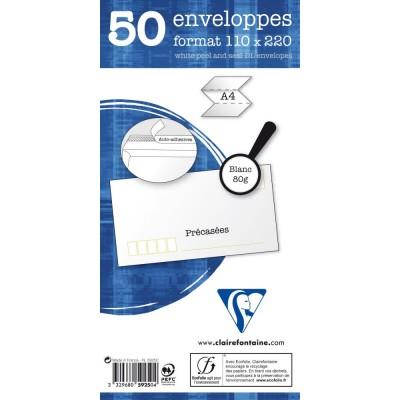 Enveloppes longues auto-adhésives précasées paquet de 50 - DL 110 x 220 mm 80g