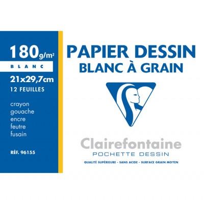 Papier Dessin à grain A4 21x29,7 Blanc 12 Feuilles 180g