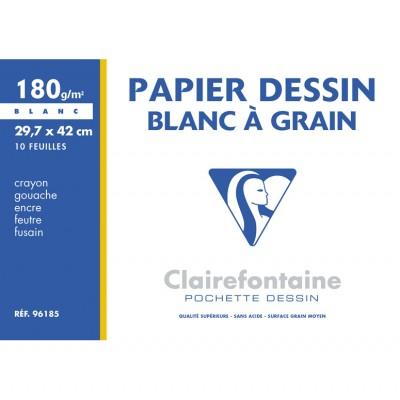 Papier Dessin à grain A3 29,7x42 Blanc 10 Feuilles 180g