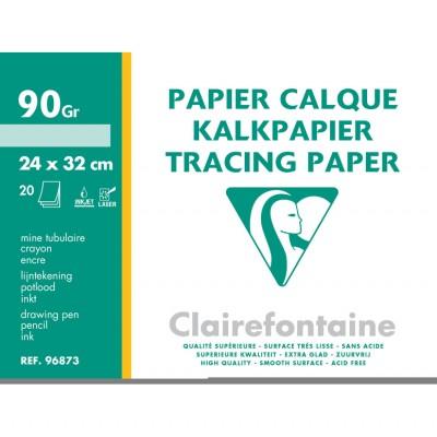 Papier Calque 24x32 - Pochette de 20 Feuilles Transparentes 90g