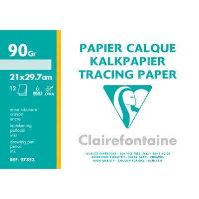 Papier Calque A4 21x29,7 - Pochette de 12 Feuilles Transparentes 90g