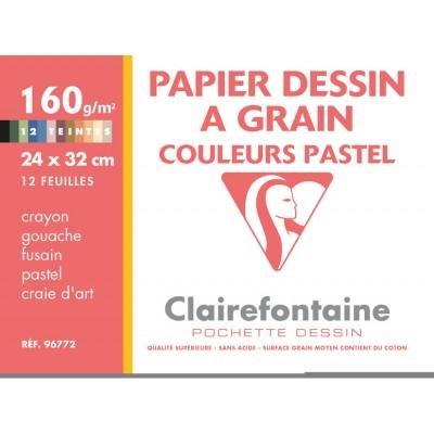 Papier Dessin à grain Couleurs Pastel 24x32 12 Feuilles 160g