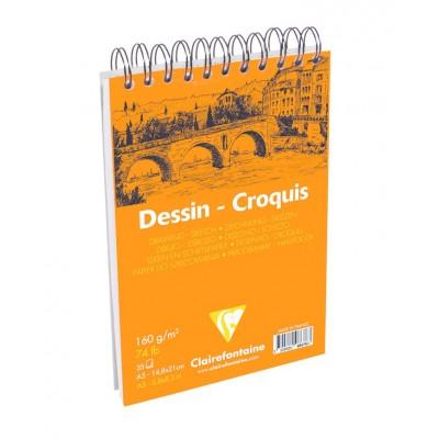 Bloc de Dessin Croquis Spirale Blanc A5 14,8x21 35 Feuilles 160g