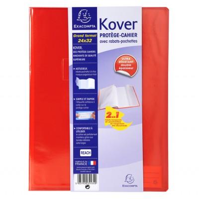 Protège-cahier Transparent Couleurs 24x32 avec rabats pochettes