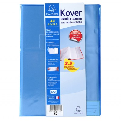 Protège-cahier Transparent Couleurs A4 21x29,7 avec rabats pochettes