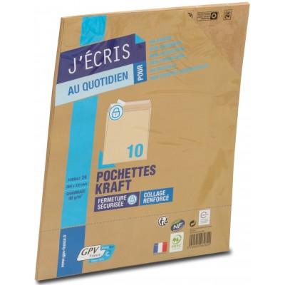 Enveloppes Kraft paquet de 10 - format C4+ 260 x 330 mm