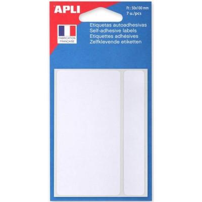 Etiquettes adhésives 50 x 100 mm Etui de 7 permanentes blanches