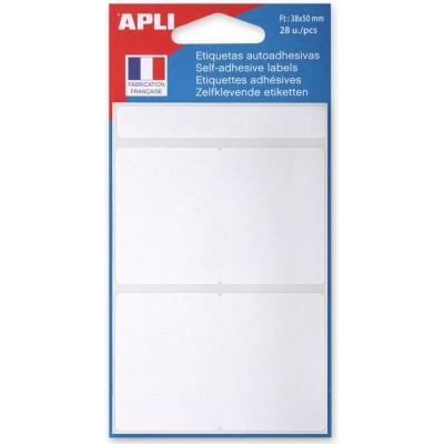 Etiquettes adhésives 38 x 50 mm Etui de 28 permanentes blanches