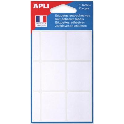 Etiquettes adhésives 32 x 38 mm Etui de 42 permanentes blanches
