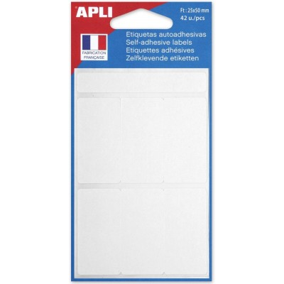Etiquettes adhésives 25 x 50 mm Etui de 42 permanentes blanches