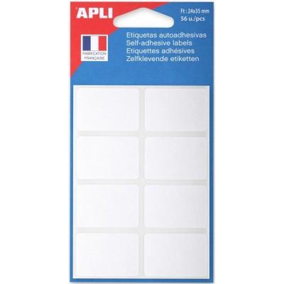 Etiquettes adhésives 24 x 35 mm Etui de 56 permanentes blanches