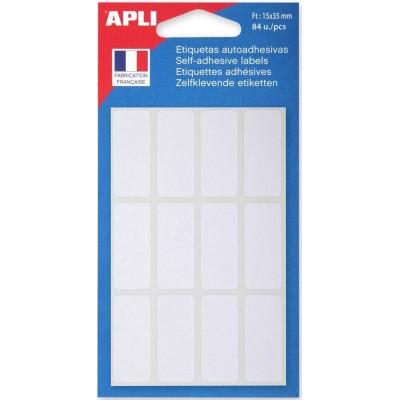 Etiquettes adhésives 15 x 35 mm Etui de 84 permanentes blanches