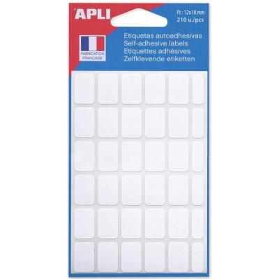 Etiquettes adhésives 12 x 18 mm Etui de 210 permanentes blanches