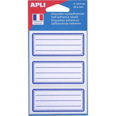 Etiquettes pour école, cahier, livre, bocal, pot 24 Etiquettes rectangulaires lignées