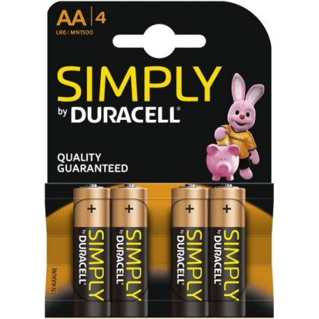 Pile AA LR6 MN1500 1.5 V Duracell Simply Pack de 4 Piles