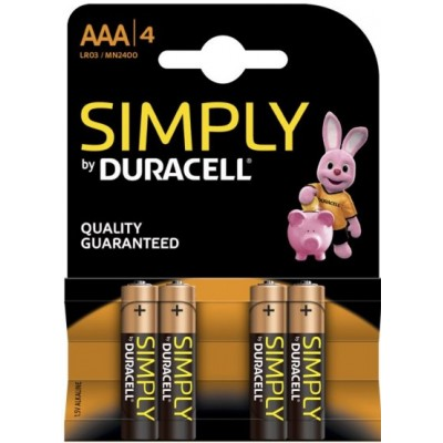 Pile AAA LR03 MN2400 1.5 V Duracell Simply Pack de 4 Piles