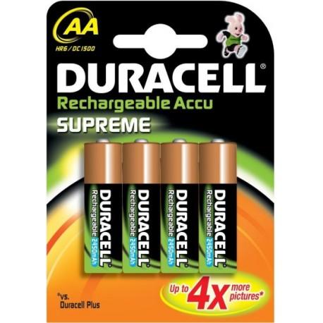 Pile AA Rechargeable HR6 DC1500 1.2 V Duracell Supreme Pack de 4 Piles