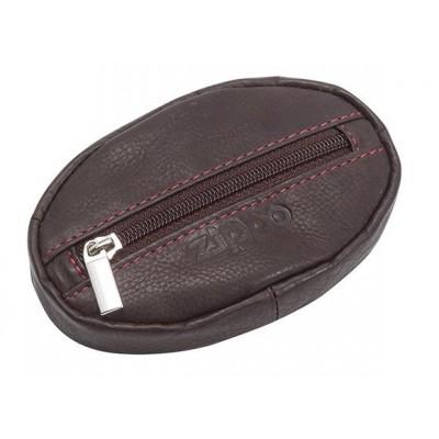 Porte-monnaie en cuir Zippo coloris Marron Fermeture zippée
