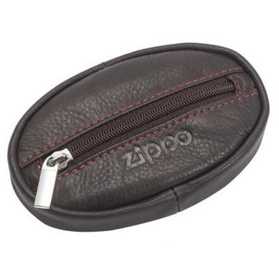 Porte-monnaie en cuir Zippo coloris Moka Fermeture zippée