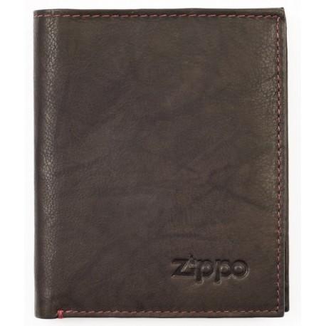 Portefeuille en cuir Zippo coloris Moka avec porte-monnaie