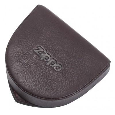 Porte-monnaie Cuvette en cuir Zippo coloris Marron