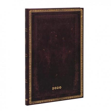 Agenda 2020 Paperblanks NOIR MAROCAIN Jan/Déc Vertical Format Maxi 13,5 x 21 cm