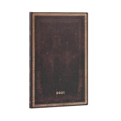 Agenda 2021 Paperblanks NOIR MAROCAIN Jan/Déc Vertical Format Maxi 13,5 x 21 cm