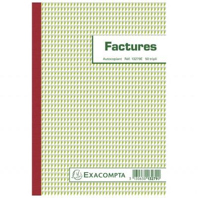 Factures 14,8 x 21 cm format A5 - Autocopiants 50 feuillets Tripli