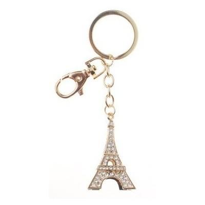 Porte-clé Tour Eiffel avec strass doré