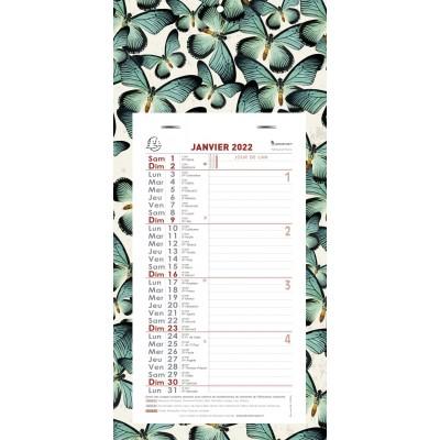 Calendrier mensuel Papillons Feuillets détachables sur plaque cartonnée 16 x 33 cm