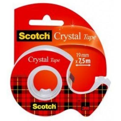 Scotch ruban adhésif Crystal avec Dévidoir